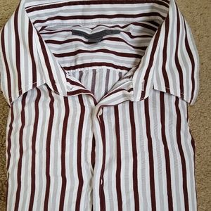 Old Navy Gray Maroon Striped Button Down Shirt XL